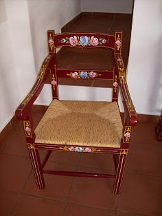 Traditional furniture from Alentejo – armchair Decor, Furniture, Painted Furniture, Traditional Furniture, Dining, Chair, Home Decor, Armchair, Dining Chairs