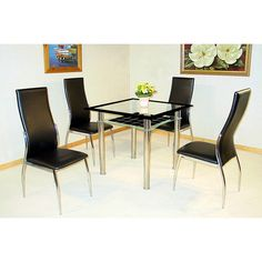 Jazo Clear And Black Gl Table 2 Dining Chairs