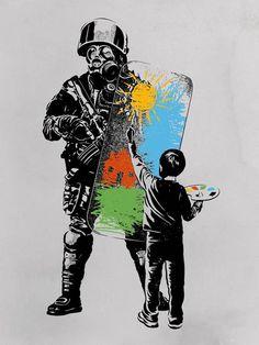 Turmoil Paint Canvas Wall Art by Rob Dobi Banksy Graffiti, Arte Banksy, Street Art Banksy, Bansky, Protest Kunst, Protest Art, Canvas Wall Art, Wall Art Prints, Fine Art Prints