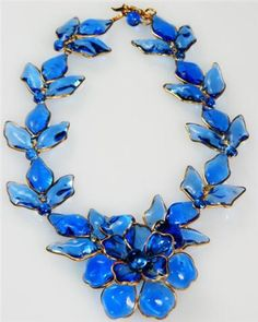 Chanel gripoix blue necklace
