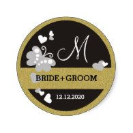 Glitter Gold  And Black Butterfly Wedding Monogram Classic Round Sticker    Glitter Gold  And Black Butterfly Wedding Monogram Classic Round Sticker
