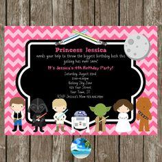 Star Wars Birthday Party Invitation Pink by CoastalInvitations