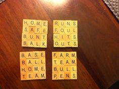 Scrabble tile coasters: baseball theme Scrabble Pieces Crafts, Scrabble Letter Crafts, Scrabble Coasters, Scrabble Tile Crafts, Scrabble Words, Scrabble Letters, Diy Coasters, Puzzle Pieces Games, Rum