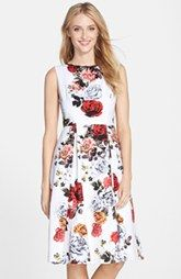 Adrianna Papell Floral Jacquard Fit & Flare Midi Dress