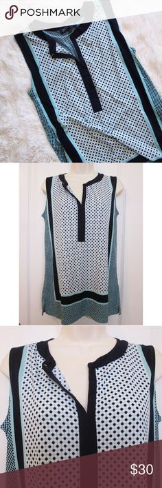 Jones New York aqua polka dot sleeveless blouse This soft and flowy top can be dressed casual or paired with some slacks for a professional outfit! It is in excellent condition and is a perfect staple piece for you closet. True to size. 96% polyester 4% elastane. Bundle with just one other item for 20% off! 💕 Jones New York Tops Blouses