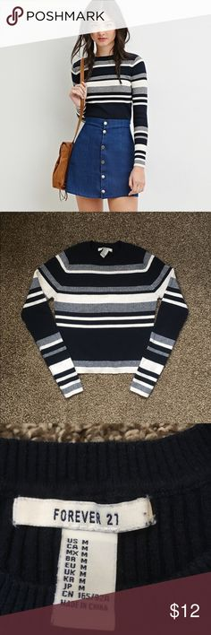 Forever 21 Navy Striped Crop Sweater Navy and white striped crop sweater from forever 21, worn a couple of times. In great condition, size medium Forever 21 Sweaters Crew & Scoop Necks