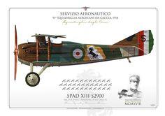 """SERVIZIO AERONAUTICO . ITALIAN AIR FORCE (WW1)91ª Squadriglia AeroplanI DA CACCIA """"Squadriglia degli Assi"""" 1918. Flown by Maj Francesco Baracca"""