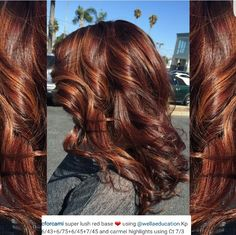 Layout fall hair color for brunettes in 2019 цвет волос, дли Reddish Brown Hair Color, Hair Color Auburn, Hair Color And Cut, Hair Color Highlights, Auburn Hair, Hair Color Dark, Carmel Highlights, Color Red, Brown Blonde