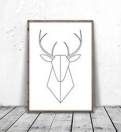 Geometric Deer Art, Deer Print, Minimalist Deer, Deer Head Print, Geometric Deer, Modern Deer Print, Printable Deer, Deer Printable Art, Digital Print