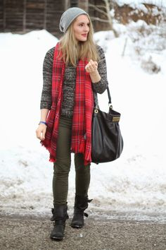 Winter Look / Red Scarf / Marc by Marc Jacobs Hillier Hobo Bag / Grey Beanie / Winter Outfit /