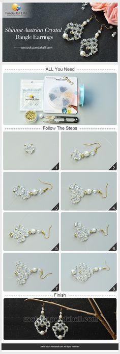 DIY shining Austrian crystal dangle earrings with Pandahall Elite bead