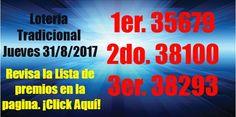 #LoteríadePuertoRico resultados del Jueves 31 de Agosto 2017.