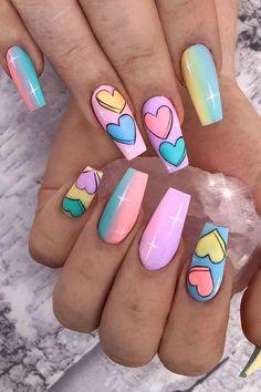 summer nails ideas 2021#nails#nail#nailart#acrylicnaildesignsforsummer#nail2021#summernail#summernailscolorsdesigns#acrylicnaildesignsforsummer Acrylic Nails Coffin Short, Best Acrylic Nails, Heart Nail Designs, Funky Nail Designs, Nagellack Design, Funky Nails, Funky Nail Art, Colorful Nail Art, Cool Nail Art