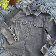 Gap Shirt Jac Love this! Super soft sueded denim in black/grey wash. Heavy weight. Two flap pockets. Nice trim fit, still good for layering but not boxy. Good used condition.  Great for fall! GAP Jackets & Coats