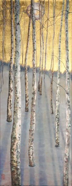 'Last Leaf' – Oil on 24 Carat Gold Leaf and Palladium Leaf on Poplar panel. The last remaining leaf as winter takes hold over the birch tree stand. Silver Leaf Painting, Gold Leaf Art, Gold Leaf Paintings, Tree Paintings, Tree Interior, Interior Design, Poplar Tree, Cool Tree Houses, Celtic Tree Of Life
