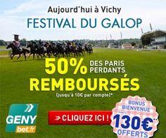 GENYbet relance pour un jour son opération 50% des paris perdants remboursés. C'est ce lundi 16/07/12 pour le Festival du Galop de Vichy...