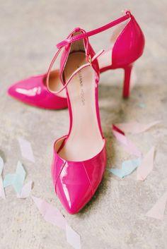 hot pink heels, photo by Mikki Platt http://ruffledblog.com/barbie-inspired-wedding-ideas #weddingshoes #shoes #hotpink