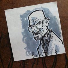 Walter White on a Post-it note. #BreakingBad #heisenberg #treadlightly #sketch #art