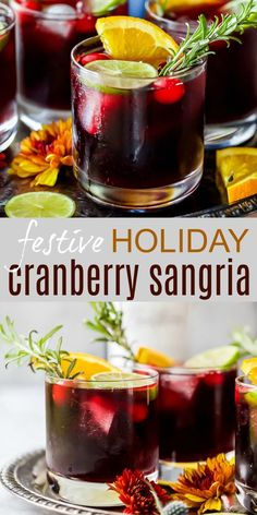 This Easy Cranberry Sangria is the Perfect Holiday Cocktail Recipe! Easy Holiday Cranberry Sangria filled with citrus, brandy, cranberry and hints of cinnamon. This super festive sangria recipe can be made ahead of time and is perfect for the holidays! Winter Sangria, Thanksgiving Sangria, Cranberry Sangria, Red Sangria Recipes, Christmas Sangria, Holiday Cocktails, Thanksgiving Recipes, Cocktail Recipes, Holiday Recipes