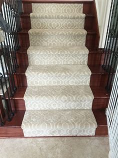 Awesome looking stair runner using Kane carpet style bel canto