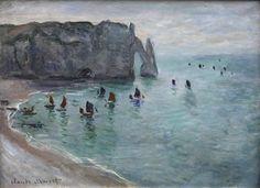 Claude Monet (French, Impressionism, 1840-1926): Etretat, gate of Aval: Fishing boats leaving the harbor (Étretat, la porte d'Aval: bateaux de pêche sortant du port), 1886. Oil on wood. Musée des Beaux-Arts, Dijon, France.
