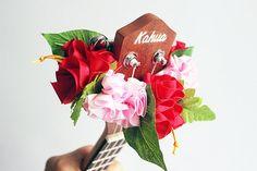 ribbon lei for ukulele / red & pink hibiscus / ukulele by ukuhappy