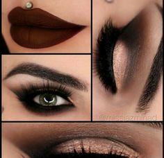 Bronze smokey eye. Burgundy vampy lip. By missjazminad. #bronzesmokeyeye