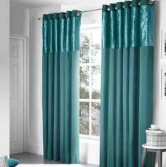 Design Savoy Panel Eyelet Teal Fully Lined Ready Made Curtains