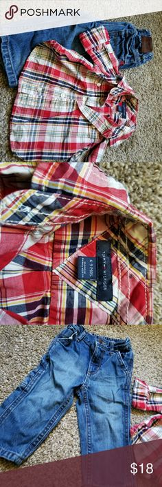 Tommy Hilfiger infant set jeans button down Tommy Hilfiger set. Jeans are size 12 months and the shirt is size 6-9m. My son wore this set from 9m until 12m. Great shape. Tommy Hilfiger Matching Sets