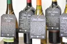 What a cute bridal shower gift! Wine tags for the first year of marriage!