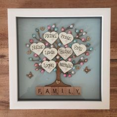 Personalised Box Frame Family tree Scrabble Gift Mothers Day Wedding Anniversary in Home, Furniture & DIY, Home Decor, Plaques & Signs | eBay