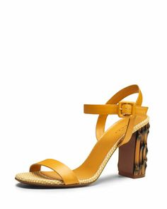 Dahlia Leather Ankle-Wrap Sandal, Yellow by Gucci at Neiman Marcus.