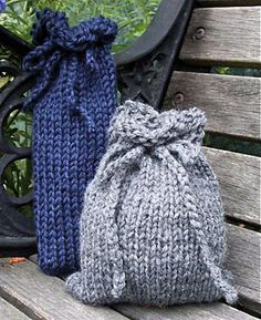 Loom Knit Gift Bags - free pattern by Faith Schmidt