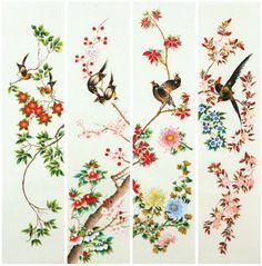 대한민국민화공모대전 - 윤태영 - 화조도 Acrylic Painting Techniques, Chinese Architecture, Korean Art, Bird Prints, Coloring Sheets, Chinoiserie, Flower Art, Printing On Fabric, Watercolor Paintings
