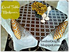 twelveOeight: DIY Card Table Makeover, using hot glue gun, not staples