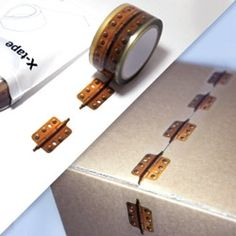 tape that looks like metal hinges- genius!