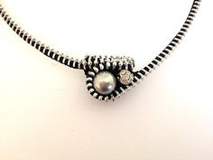 Captured Pearl Zipper Necklace Grey by ArtologieDesigns on Etsy, $45.00