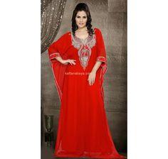 Red Faux Georgette Dubai Fancy #Kaftan