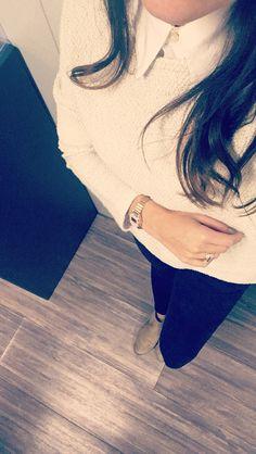 Boots beige Zalando - pull H&M sur chemise Burberry - pantalon bleu marine Zara - Montre H&M ❤️ Pantalon Bleu Marine, New Outfits, Burberry, Zara, Beige, Boots, Fashion, Dress Shirt, Crotch Boots