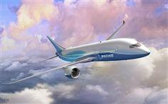 vôo do avião Boeing, céu, nuvens