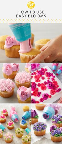 You can pipe buttercream flowers with just one squeeze using these Easy Blooms decorating tips. No need for flower nails or waxed paper squares, simply insert the tip into your bag, fill with frosting and you're ready to start piping! Cupcake Icing Techniques, Cake Piping Techniques, Cake Decorating Icing, Cake Decorating Techniques, Cookie Decorating, Buttercream Cupcakes, Buttercream Flowers, Mini Cupcakes, Cupcake Cakes