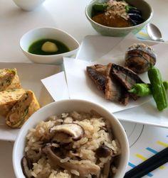 秋刀魚の竜田揚げ きのこご飯