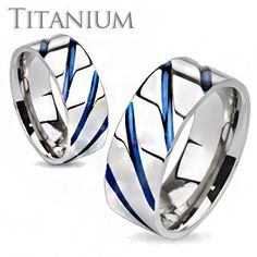 AzureSky– Blue IP diagonal accented silver solid titanium his and her ring