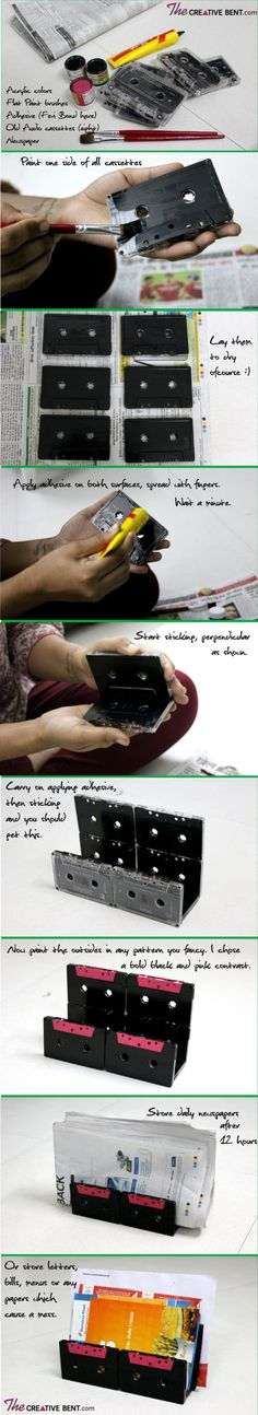 what to do with old audio cassette tapes? DIY ideas for making newspaper holder