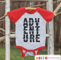 Kid's Adventure Outfit - Red Raglan Shirt or Onepiece - Camping Shirt - Camp Shirt for Baby, Toddler, or Youth - Explore Clothing