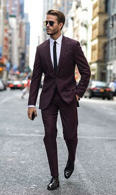Burgundy suit men #suit #mensfashion
