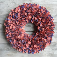 Make a patriotic wreath using flag tooth picks