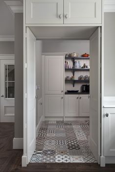 Wow! Check out these stunning tiles in the walk in larder❤️ What a space!  #greenhillkitchens #handmadekitchens #bespokedesign