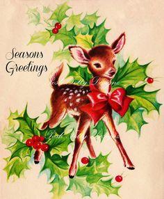 Etsy の Seasons Greetings Deer Vintage Digital by poshtottydesignz