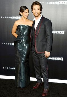 McConaughey (in Dolce & Gabbana) was joined by his wife, Camila Alves, who chose a high-shine, strapless column dress by Rubin Singer.